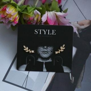 【梨花HaNA】韓國925銀清新的小葉子物語鑲鑽迷你耳環 推薦  梨花HaNA