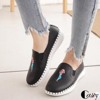 【Caiiy】超舒適塗鴉小白鞋女休閒A201-2(黑色/米色/粉色) 推薦  Caiiy