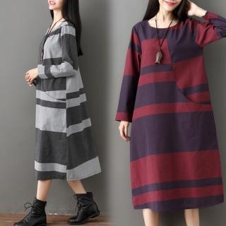 【A.Cheter】大學城藝術幾何設計長袖棉麻洋裝102973*#(2色)  A.Cheter