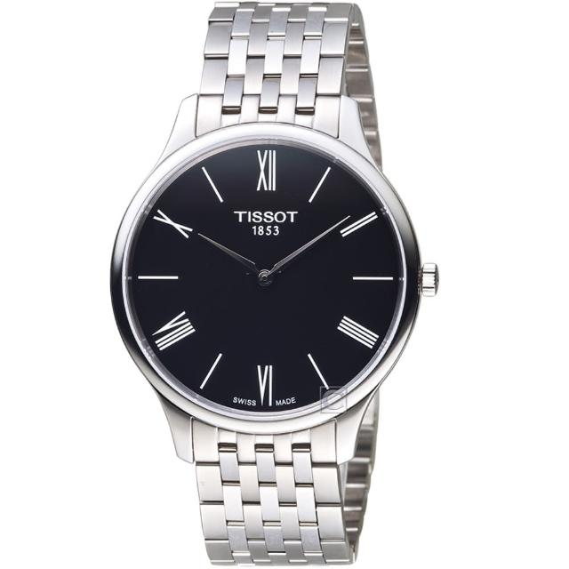 【TISSOT 天梭】T-TRADITION超薄紳士石英錶(T0634091105800)