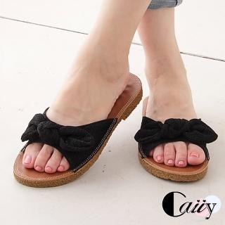 【Caiiy】拖鞋.甜美可愛蝴蝶結拖鞋 A32-3(紫粉/黑色/銀灰)強力推薦  Caiiy