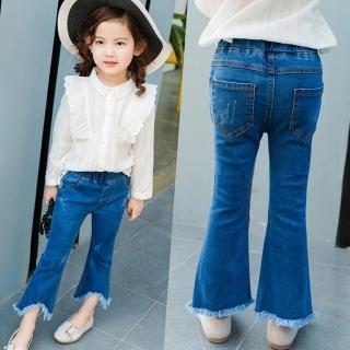 【小衣衫童裝】女童修身小喇叭流蘇邊九分牛仔褲(1070906)好評推薦  小衣衫童裝
