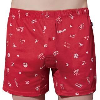 【Swear 思薇爾】點子王系列M-XXL印花寬鬆四角男褲(袍紅色)好評推薦  Swear 思薇爾