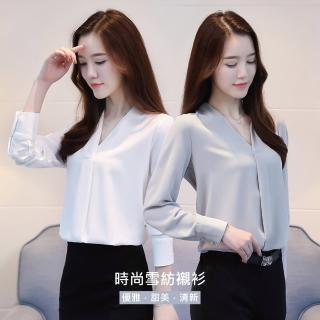 【J&H collection】韓版寬鬆V領雪紡長袖襯衫 M-2XL(藍色 / 白色)好評推薦  J&H collection