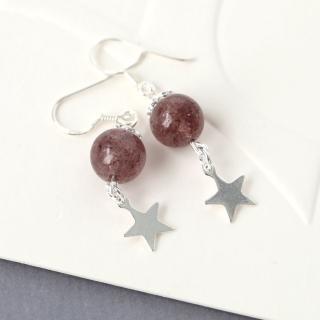 【玖飾時尚】925純銀草莓晶星星耳環(925純銀)  玖飾時尚