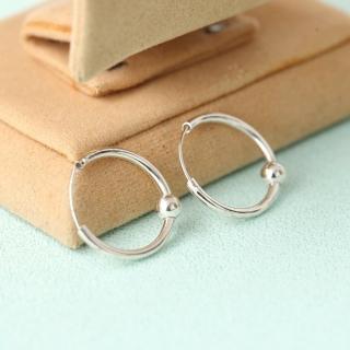 【玖飾時尚】925純銀圓型單珠耳針耳環(925純銀)  玖飾時尚