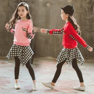 【小衣衫童裝】中大女童長袖T恤不規則格子裙褲套裝(1070839)好評推薦  小衣衫童裝