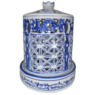 【KC】仿明朝瓷器-雕鏤青龍藍櫺蓋盅淨香爐(PH-027)  KC