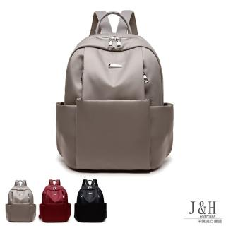 【J&H collection】輕簡潮流百搭牛津布雙肩包(卡其色 / 酒紅色 / 黑色 附小熊吊飾)好評推薦  J&H collection
