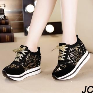 【JC Collection】牛皮內增高華麗英文金字樣鉚釘綁帶運動休閒鞋-黑(黑色)  JC Collection