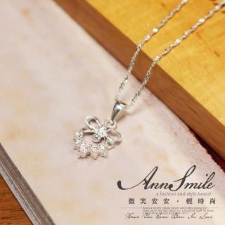 【微笑安安】嵌鑽蝴蝶結花環925純銀項鍊強力推薦  微笑安安
