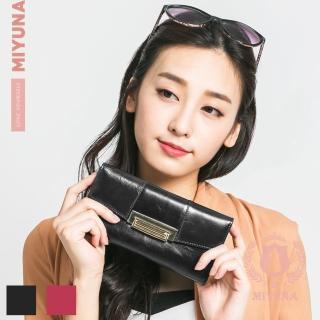 【MIYUNA 米友娜】Vanilla香草油蠟牛皮頂級金屬鎖扣真皮長夾(兩色選)  MIYUNA 米友娜