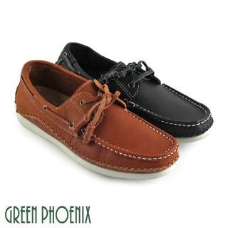 【GREEN PHOENIX波兒德】極簡素面縫線綁帶全真皮平底休閒鞋(黑色)  GREEN PHOENIX波兒德
