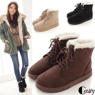 【Caiiy】溫暖內鋪毛短筒雪靴A510(黑色/棕色/米色/灰色/西瓜紅) 推薦  Caiiy