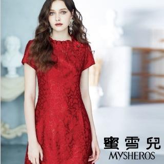 【mysheros 蜜雪兒】領口立體抓褶蕾絲洋裝(紅)  mysheros 蜜雪兒
