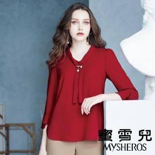 【mysheros 蜜雪兒】雪紗珍珠壓褶領帶上衣(紅)  mysheros 蜜雪兒
