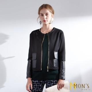 【MON'S】休閒拼接羊皮外套  MON'S