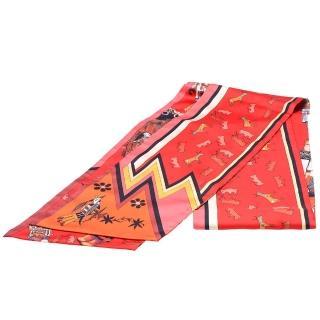 【Hermes 愛馬仕】KACHINAS系列寓言故事圖騰MAXI TWILLY絲巾(紅X橘H091823S-ROGE-ORANGE) 推薦  Hermes 愛馬仕