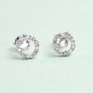 【玖飾時尚】925純銀圈圈水鑽耳針耳環(925純銀)  玖飾時尚