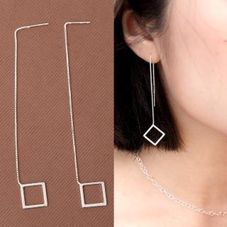 【玖飾時尚】925純銀菱型垂墜耳線式耳環(925純銀) 推薦  玖飾時尚