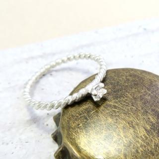 【ART64】戒指 麻花白色小鑽爪鑲戒 純銀戒指 單只  ART64