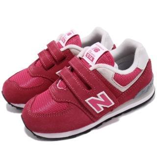 【NEW BALANCE】慢跑鞋 IV574EPJ W 寬楦 運動 童鞋 紐巴倫 魔鬼氈 透氣 舒適 穿搭 粉 紅(IV574EPJW) 推薦  NEW BALANCE