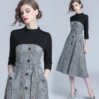 【a la mode 艾拉摩兒】黑色七分袖鐵灰千鳥格紋綁帶洋裝(S-2XL)強力推薦  a la mode 艾拉摩兒