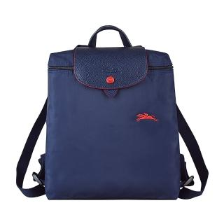 【LONGCHAMP】COLLECTION系列刺繡LOGO尼龍摺疊款手提後背包(深藍x紅)  LONGCHAMP
