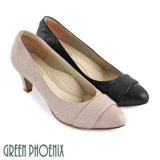 【GREEN PHOENIX波兒德】一字帶縫線格紋全真皮尖頭高跟鞋(粉紅)強力推薦  GREEN PHOENIX波兒德