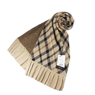 【DAKS】經典格紋長圍巾(駝色)  DAKS
