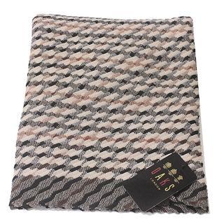 【DAKS】經典格紋抓皺披巾圍巾(駝色)  DAKS