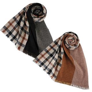【DAKS】經典格紋雙面披巾圍巾(2色)  DAKS