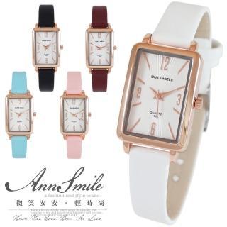 【微笑安安】典雅玫瑰金方框皮帶女錶(共5色)真心推薦  微笑安安