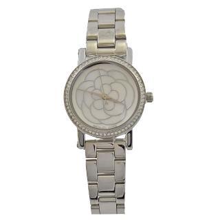 【Michael Kors】花朵圖案水鑽框不鏽鋼腕錶(銀)  Michael Kors
