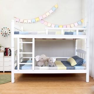 【Bernice】莎拉白色3.5尺實木雙層床架 推薦  Bernice