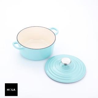 【HOLA】HOLA Amour亞莫鑄鐵琺瑯湯鍋20cm-湖水綠  HOLA