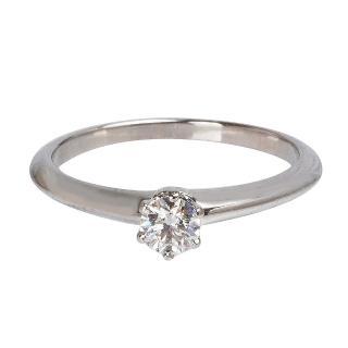 【Tiffany&Co. 蒂芙尼】PT950圓型六爪0.22克拉鑽石戒指(19244725-#10.5)  Tiffany&Co. 蒂芙尼