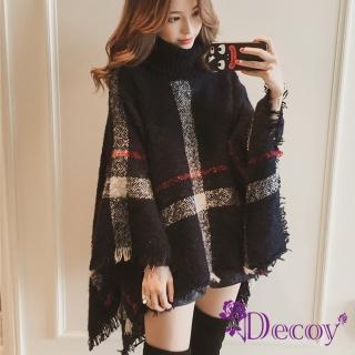 【Decoy】精品格紋*保暖高針織領毛衣斗篷披肩罩衫/黑 推薦  Decoy