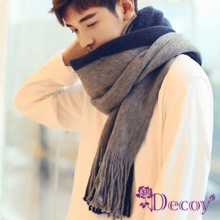 【Decoy】都會雙色*男女中性情侶保暖圍巾/藍灰  Decoy