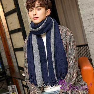 【Decoy】純色條紋*都會男女中性保暖圍巾/藍 推薦  Decoy