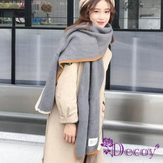 【Decoy】雙色彩框*學院男女中性保暖圍巾/灰 推薦  Decoy