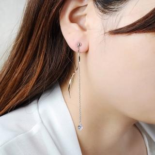 【梨花HaNA】韓國925銀曲線水晶夢境串飾耳環  梨花HaNA