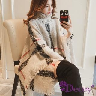 【Decoy】精品格紋*保暖高針織領毛衣斗篷披肩罩衫/米  Decoy