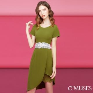【OMUSES】假兩件裙襬修身洋裝37-5168(S-XL)好評推薦  OMUSES