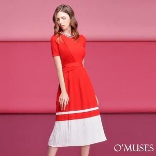 【OMUSES】撞色針織長洋裝60-190(S-L)  OMUSES