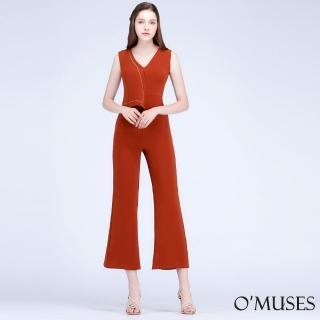 【OMUSES】V領簡約連身寬褲裝60-5161(S-XL) 推薦  OMUSES