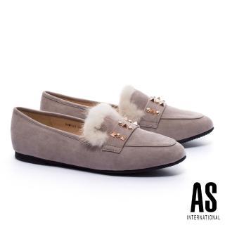 【AS集團】暖意貂毛鉚釘造型樂福平底鞋(可可)  AS集團