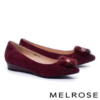 【MELROSE】奢華心鑽貂毛飾羊麂皮尖頭楔型低跟鞋(紅)  MELROSE