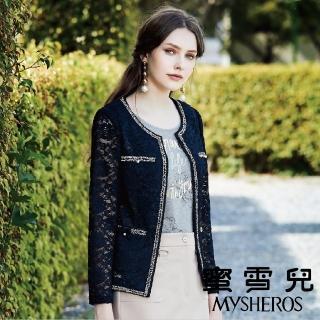 【mysheros 蜜雪兒】簍空亮邊復古蕾絲小外套(藍)  mysheros 蜜雪兒