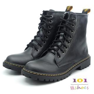 【101玩Shoes】mit. 個性8孔綁帶帥氣馬丁中筒靴(黑色.36-40碼)  101玩Shoes
